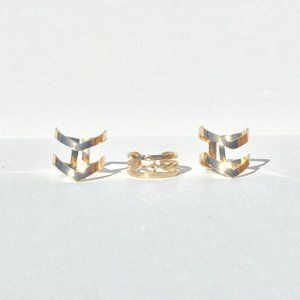 Midi ring set: Urban double chevron (3 pieces)